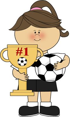 Girl With Soccer Trophy Clip Art - Girl With Soccer Trophy Image ... jpg black and white