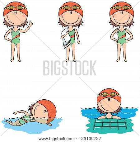 Cute vector swimmer girls in different situations: with a raised ... royalty free