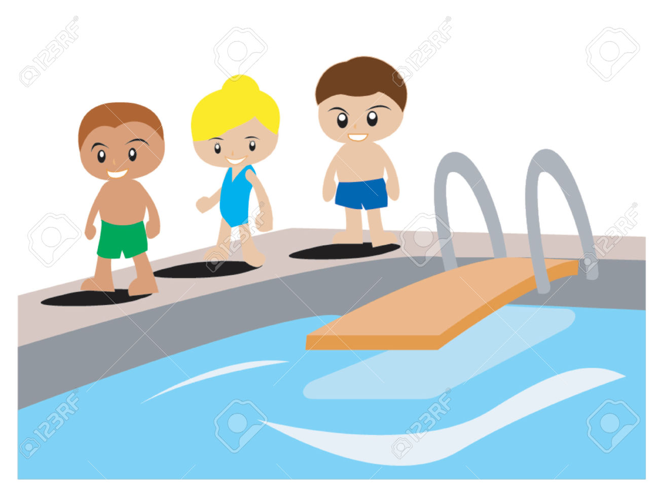 2 girls and 1 boy swimming in the pool clipart - ClipartFest jpg library