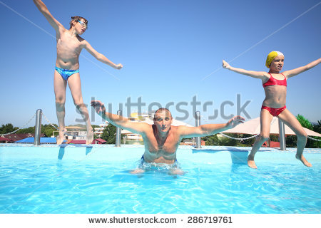 2 girls and 1 boy swimming in the pool clipart clip art transparent download Two Little Girls Boy Fun Jumping Stock Photo 140089714 - Shutterstock clip art transparent download