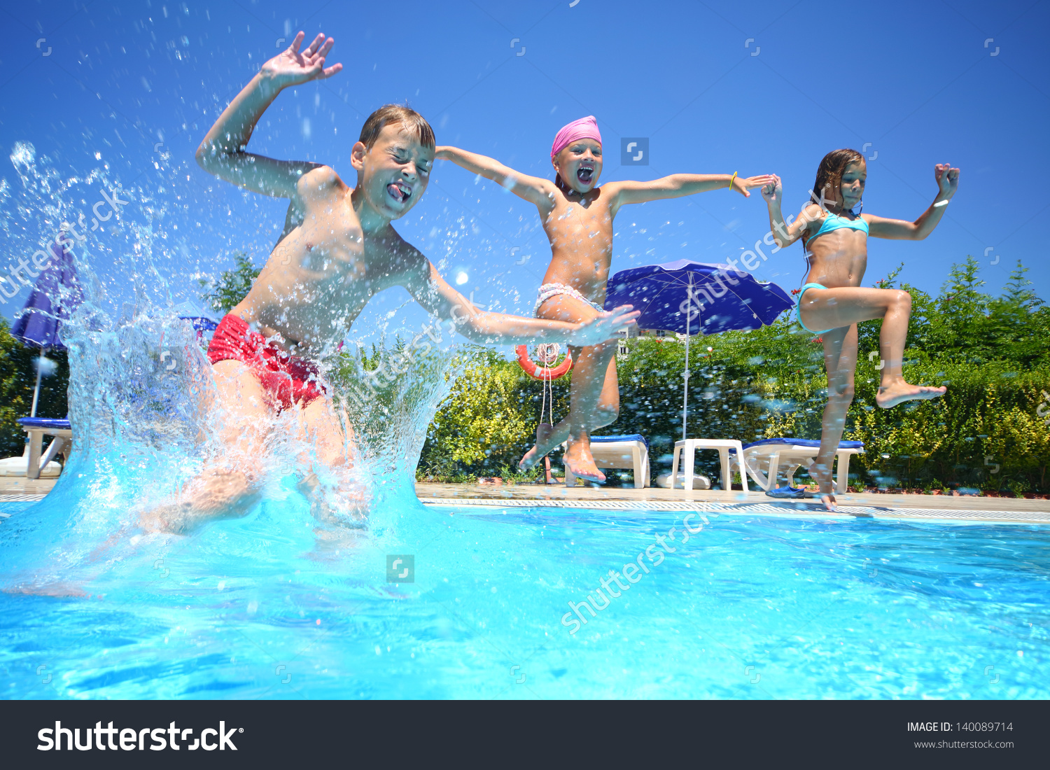 2 girls and 1 boy swimming in the pool clipart jpg library library Two Little Girls Boy Fun Jumping Stock Photo 140089714 - Shutterstock jpg library library