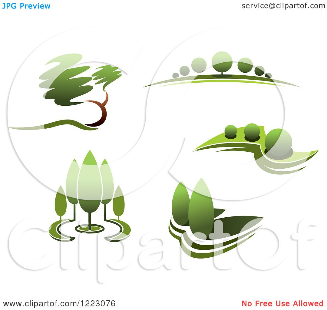 2 green trees clipart picture Clipart of Landscapes with Green Trees 2 - Royalty Free Vector ... picture