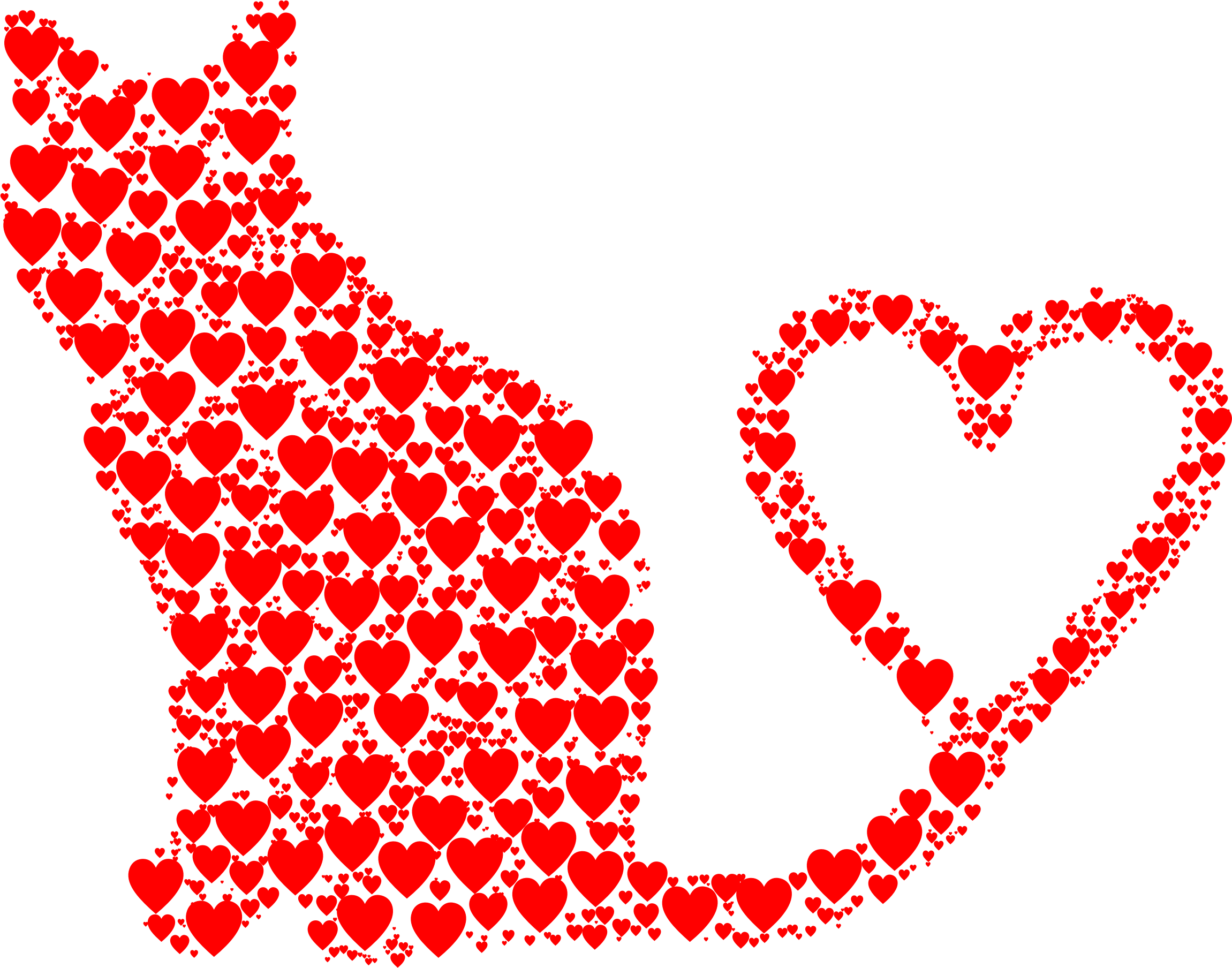 Feeding the cat clipart vector library Clipart - Cat 2 Silhouette Heart Tail Hearts vector library