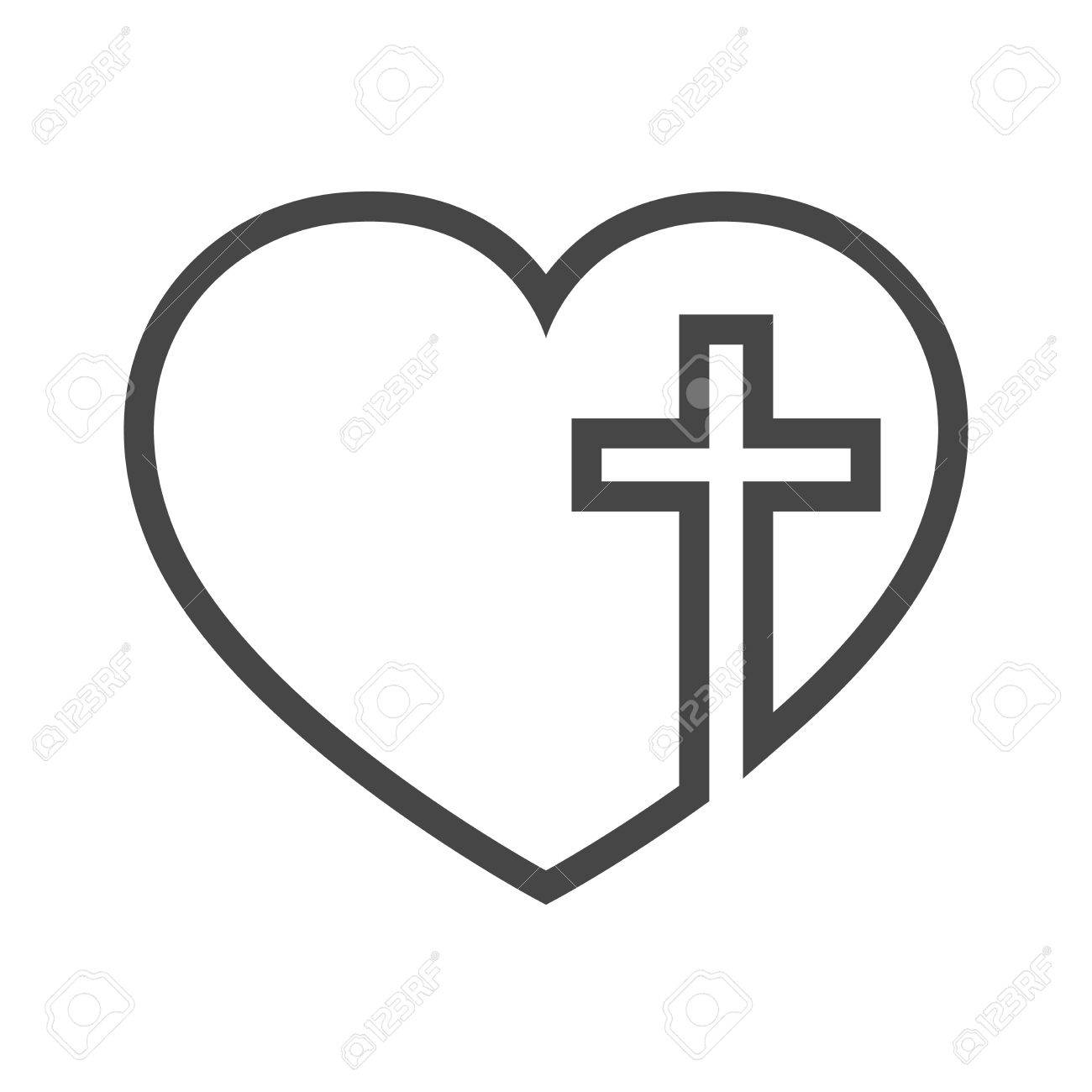 2 hearts and cross clipart picture black and white library Heart And Cross Clipart (86+ images in Collection) Page 2 picture black and white library