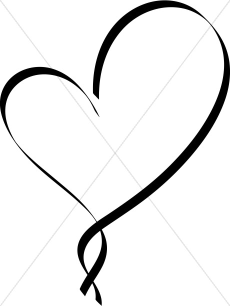 2 hearts and cross clipart png transparent Ribbon Heart Outline | Christian Heart Clipart png transparent