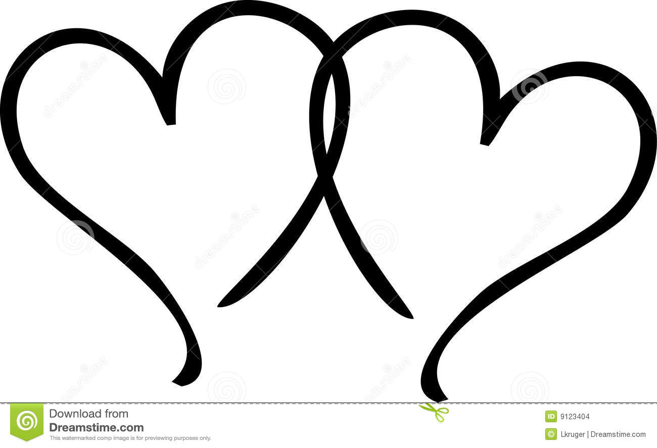 2 hearts clipart banner black and white Two Hearts Clipart - Clipart Kid banner black and white