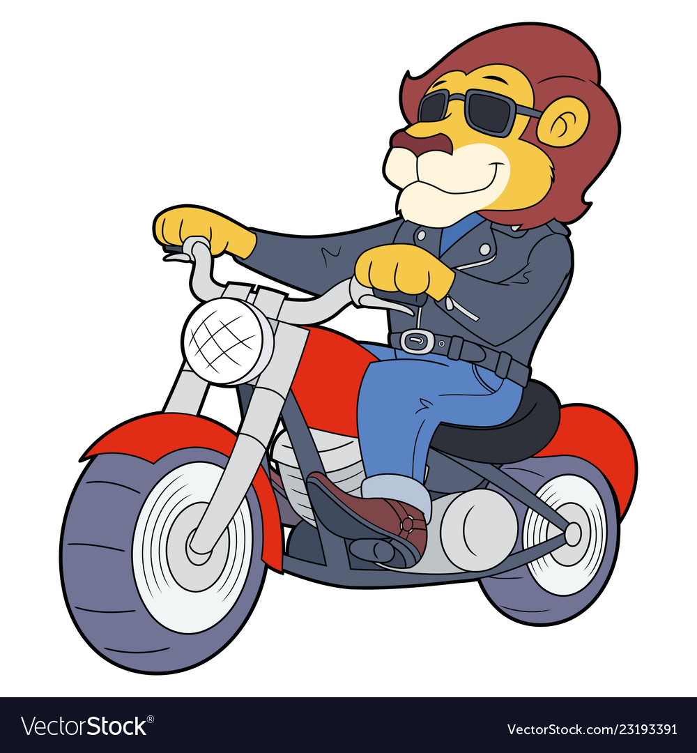 2 motorcycle riders clipart png library download Lion riding motorbike 2 png library download