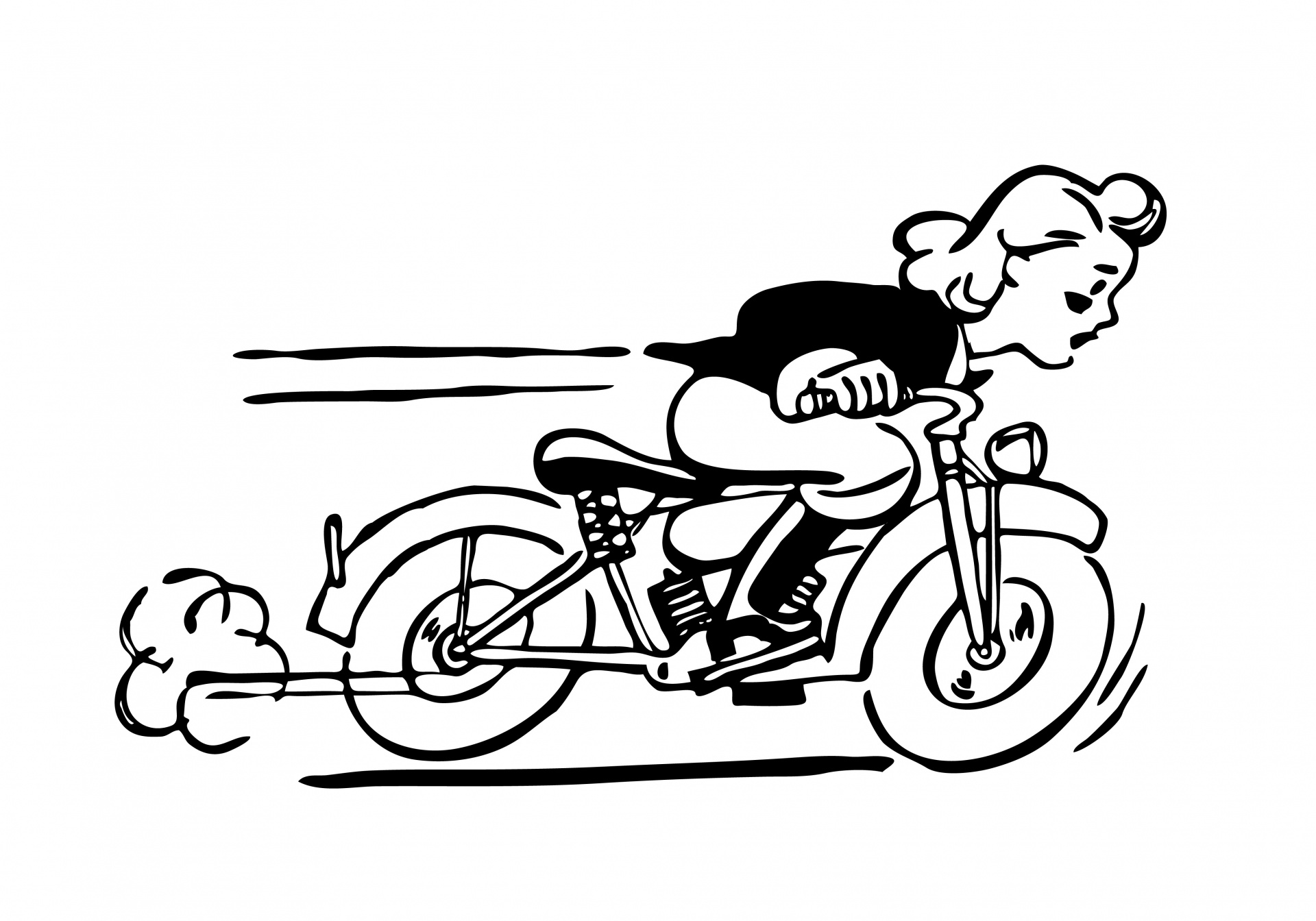 Motorcycle black and white lady riding motorbike clipart free ... graphic library
