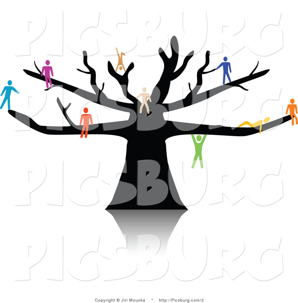 2 peop e tree clipart jpg freeuse Clip Art of a Tree with Colorful People by Jiri Moucka - #2 jpg freeuse