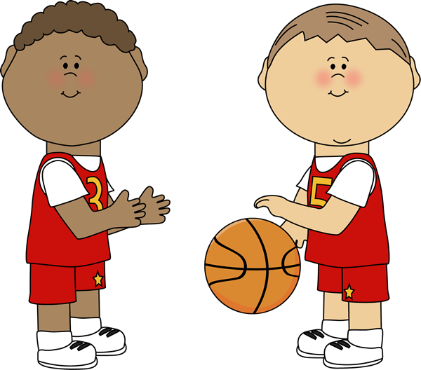 outdoor kids basketball game clipart #1