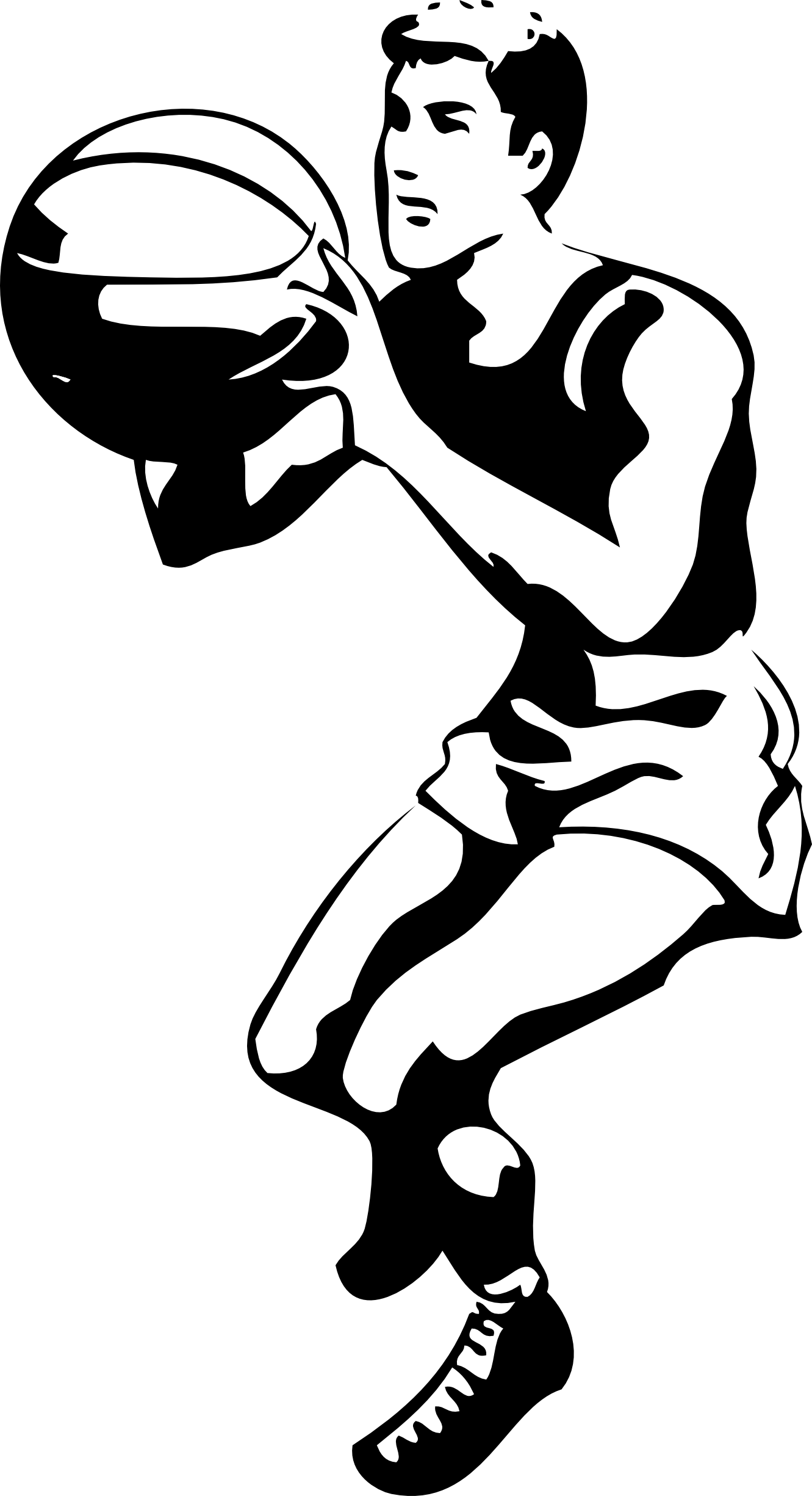 Female football player clipart. Basketball black and white