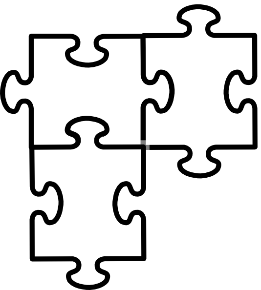 Black and white puzzle piece clipart