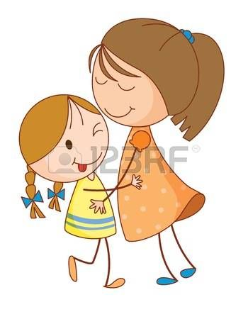 2 sister clipart png Stock Vector | VERANDA DRAWING THEME | Sisters drawing, Drawing ... png