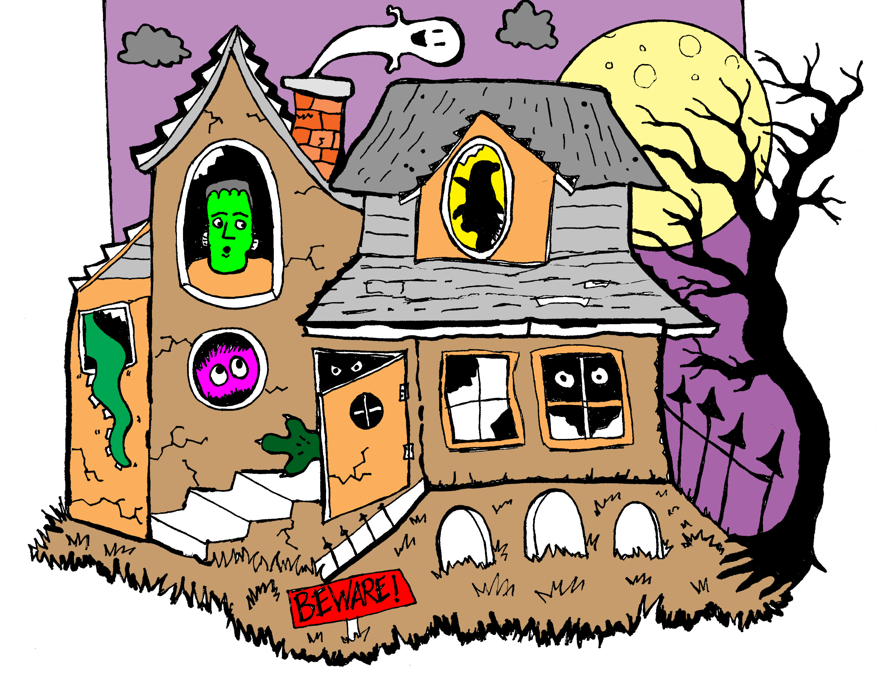 2 story house clipart banner download Fun haunted house clip art...makes a good story starter. | Clip Art ... banner download