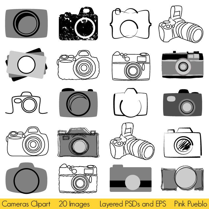 Camera logo clipart images clipart black and white library Camera Clipart Clip Art, Photography Logo Elements, Layered Editable ... clipart black and white library