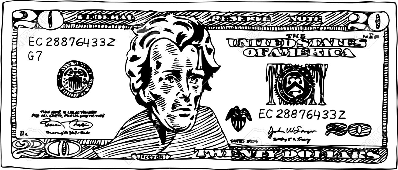 20 dollar bill clipart picture freeuse library Black and white dollar bill clipart - ClipartFest picture freeuse library