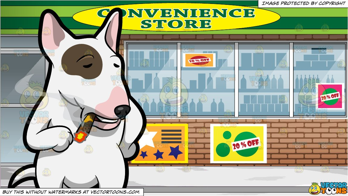 20 s cigar smoker clipart jpg free stock A Bull Terrier Smoking A Cigar and View Of The Downtown Convenience Store jpg free stock