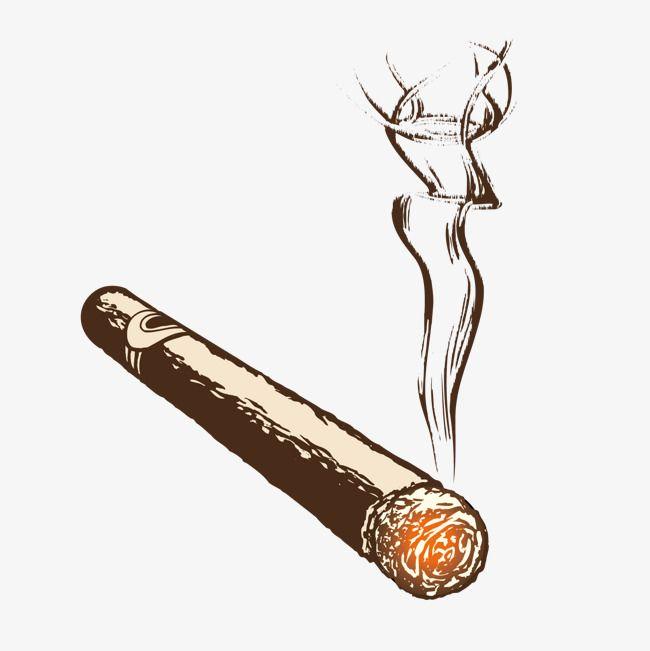 20 s cigar smoker clipart jpg transparent stock Burning Cigar Handmade Vector Illustration, Hand Painted ... jpg transparent stock