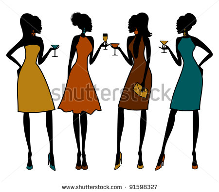 Female Group Of Friends Clipart - Clipart Kid clip art black and white