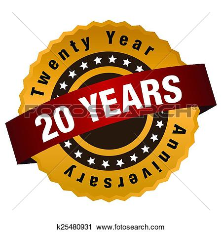 Clipart of 20 Year Anniversary Label k25480931 - Search Clip Art ... free stock