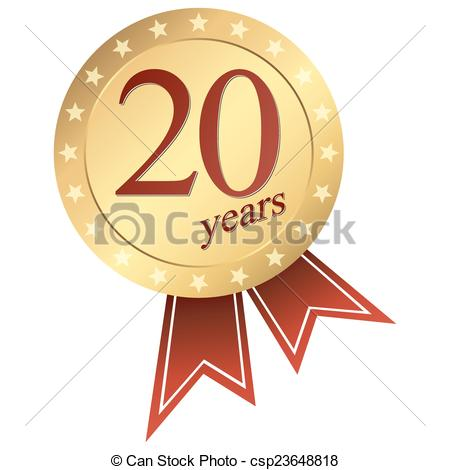 Vector Clip Art of gold jubilee button - 20 years - gold jubilee ... vector freeuse library