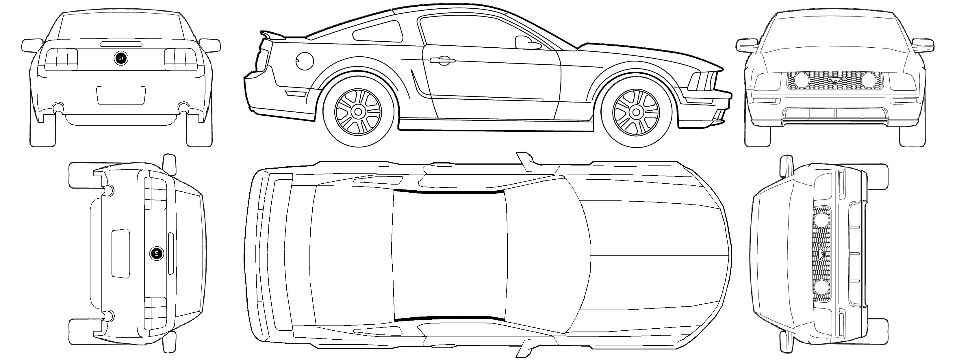2000 mustang clipart graphic freeuse stock Free Car Blueprint ford mustang gt v8 2005 | Harley | Ford mustang ... graphic freeuse stock