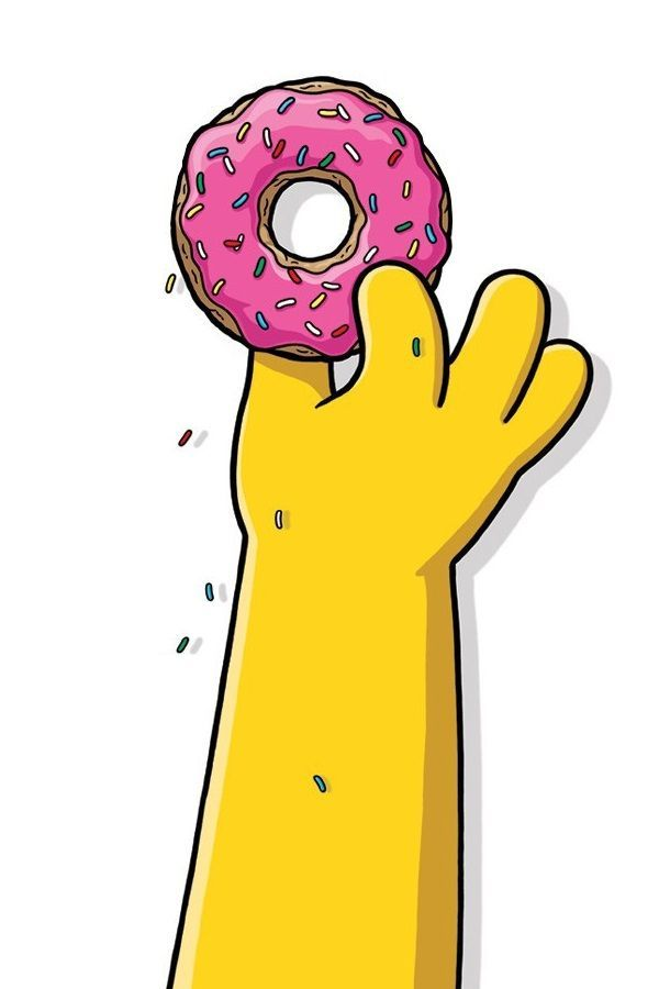 2000s clipart tumblr free The Simpsons Homer grabbing his pink doughnut cartoon clipart pop ... free