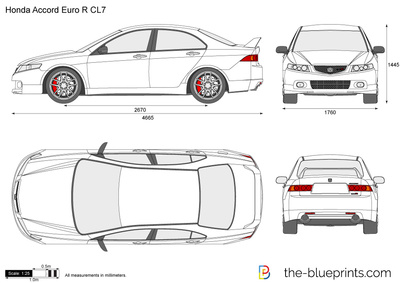 2002 honda accord clipart vector black and white Honda Accord Euro R CL7 vector drawing vector black and white