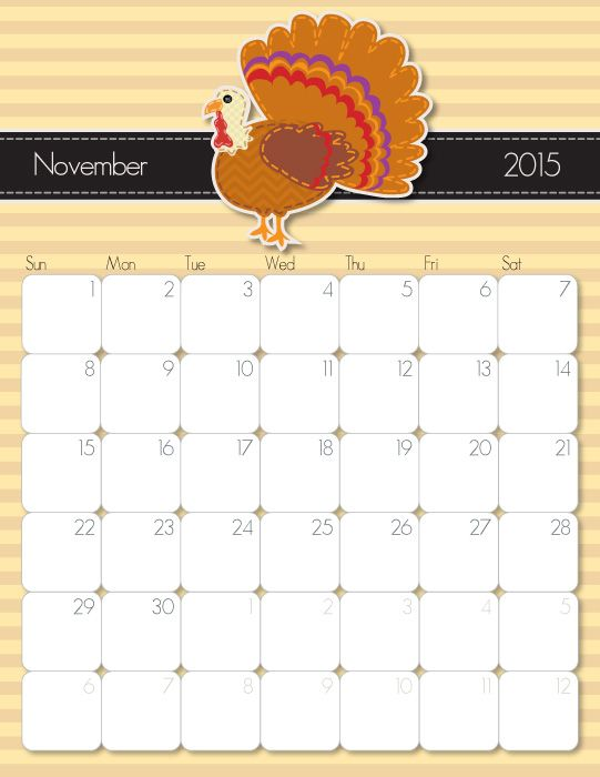 2015 november calendar clipart freeuse stock 17 Best images about Free, Cute & Crafty Printable Calendars on ... freeuse stock