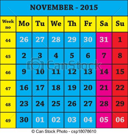 2015 november calendar clipart black and white November 2015 calendar clipart - ClipartFest black and white