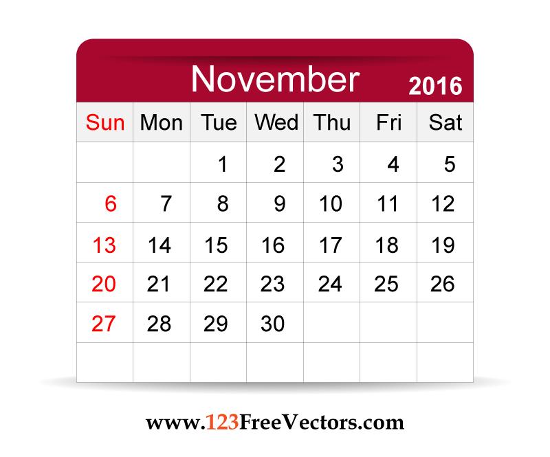 2015 november calendar clipart clip art transparent library Free Vector 2016 Calendar November by 123freevectors on DeviantArt clip art transparent library
