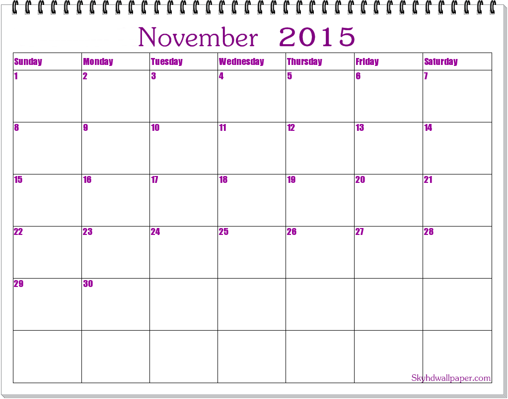 2015 november calendar clipart freeuse library Cute november calendar clipart 2015 - ClipartFest freeuse library
