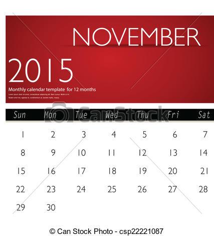 2015 november calendar clipart clip art Vector of Simple 2015 calendar, November. Vector illustration ... clip art