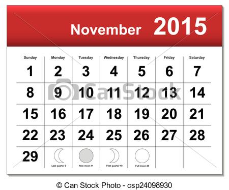 2015 november calendar clipart graphic black and white download Vectors of EPS10 file. November 2015 calendar. The EPS file ... graphic black and white download