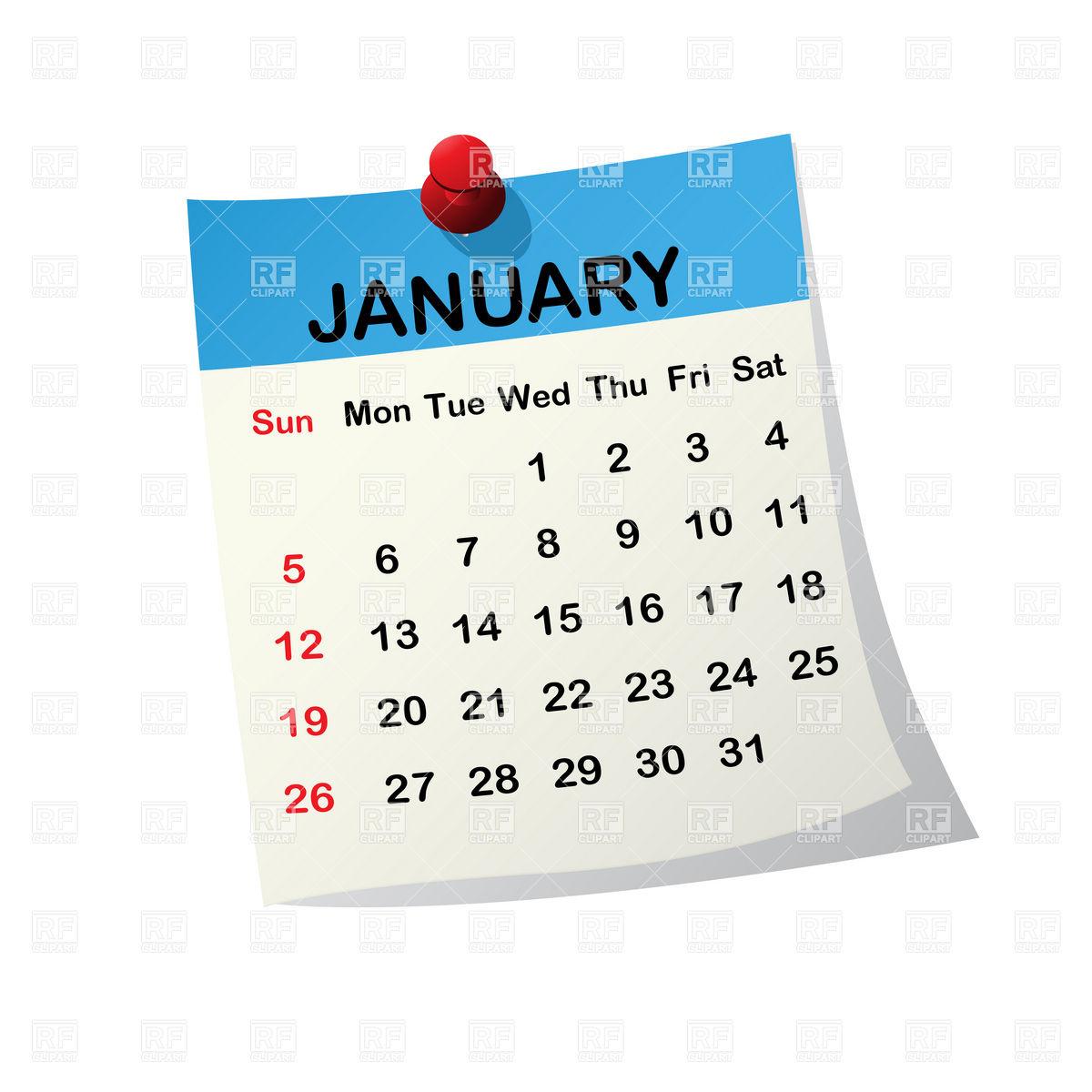 2016 calendar clipart freeuse library 2016 January Calendar Clipart - Clipart Kid freeuse library