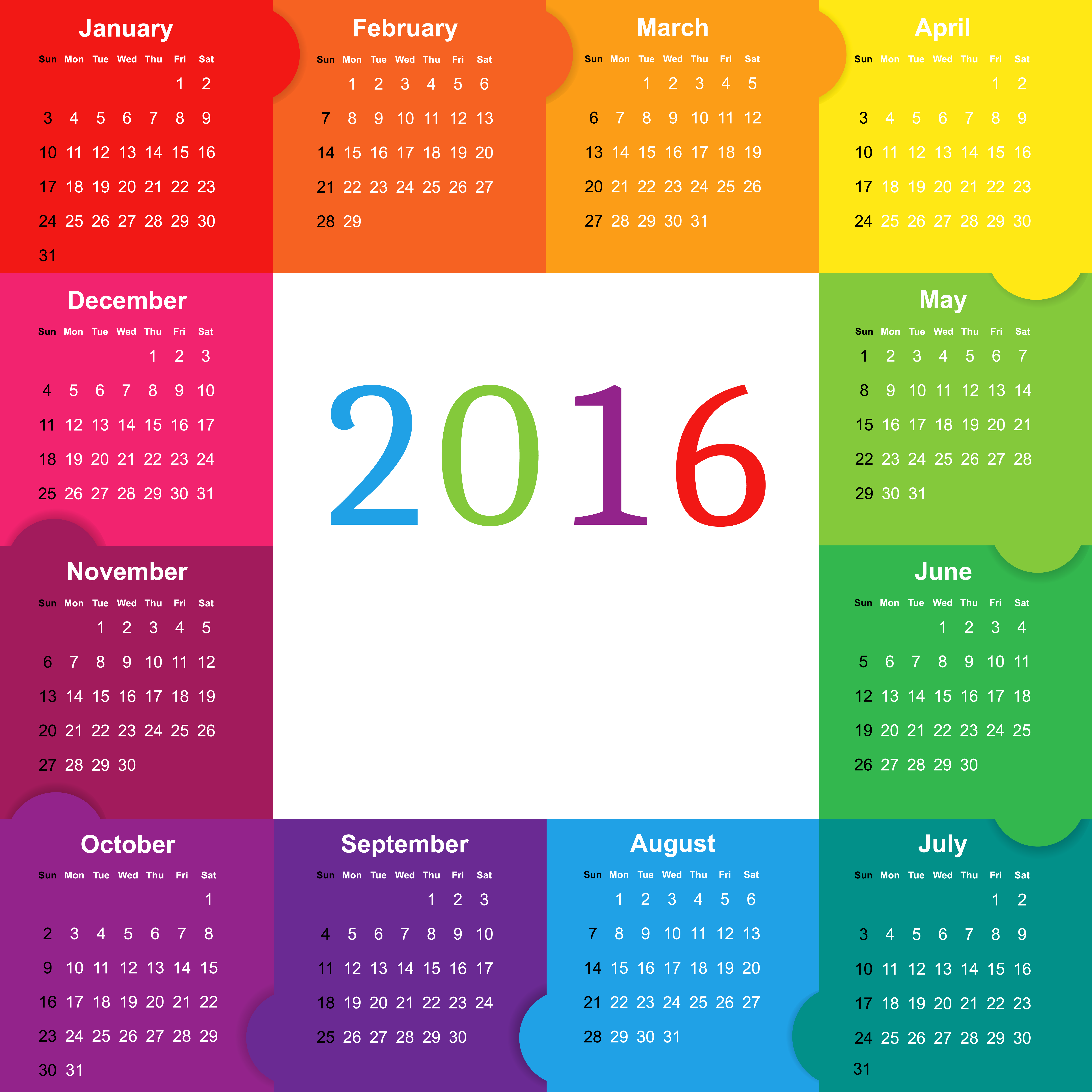 Colorful png image view. Clipart calendar october 2016