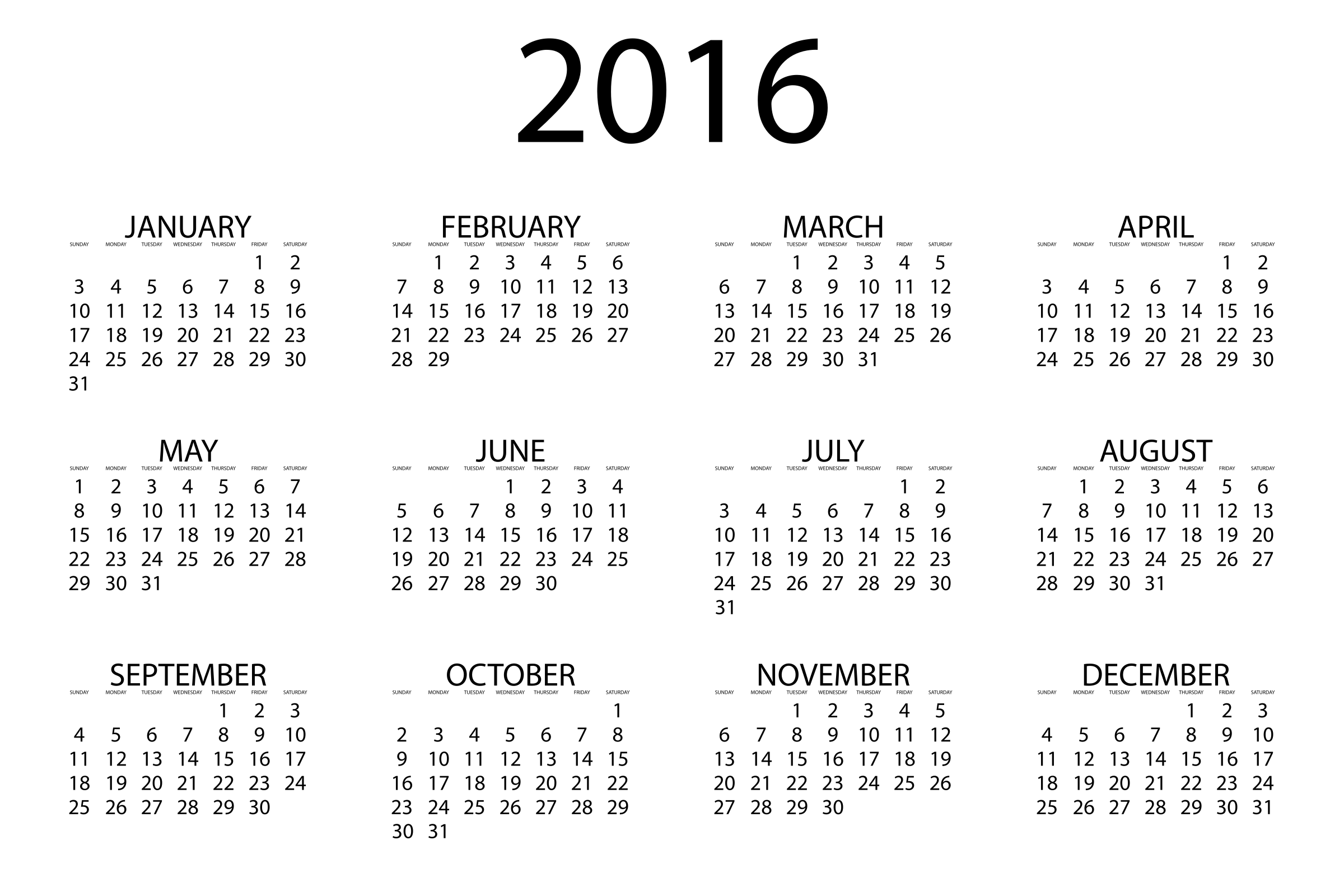 Clipart - 2016 Calendar graphic transparent download