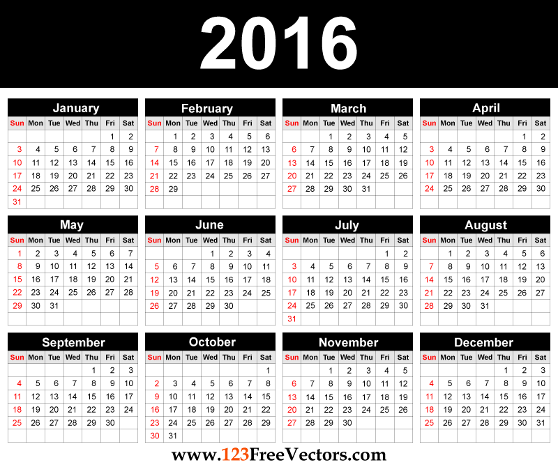 2016 calendar clipart free december png transparent library Free printable 2016 calendar with holidays and clipart - ClipartFest png transparent library