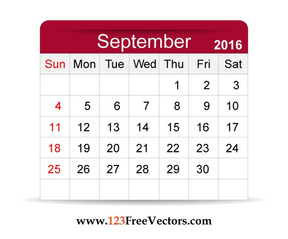 2016 calendar clipart free photoshop svg royalty free library Download Free Vector 2016 Calendar September Printable Template ... svg royalty free library