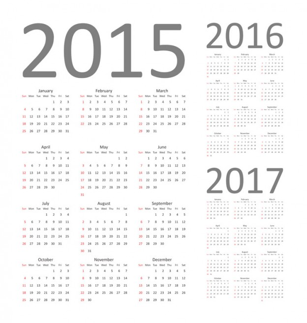 2016 calendar clipart free photoshop picture royalty free Calendar 2015, 2016 and 2017. Fully editable - Vecto2000.com picture royalty free