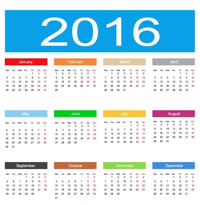 2016 calendar clipart free photoshop banner transparent 2016 Calendar Vector Illustration | Free Vector Graphics | All ... banner transparent