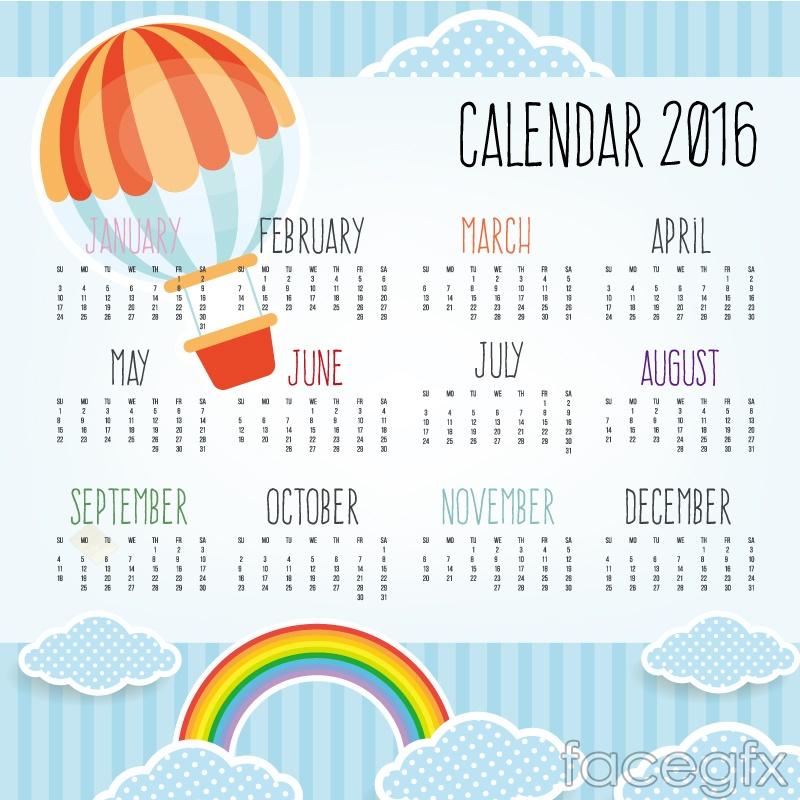 2016 calendar clipart free photoshop banner free library 2016 colored hot air balloon calendar vector graphics | Free download banner free library