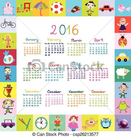 2016 calendar free clipart transparent Vectors Illustration of Frame with cartoon toys 2016 calendar ... transparent