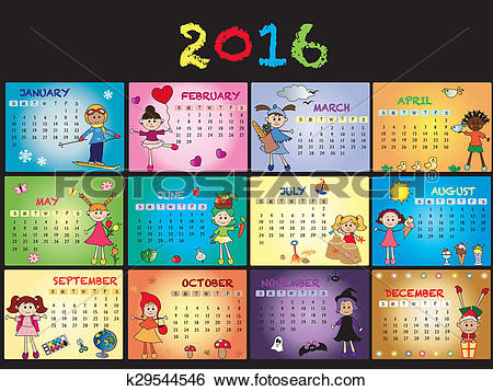 2016 clipart calendar. Stock illustration of k