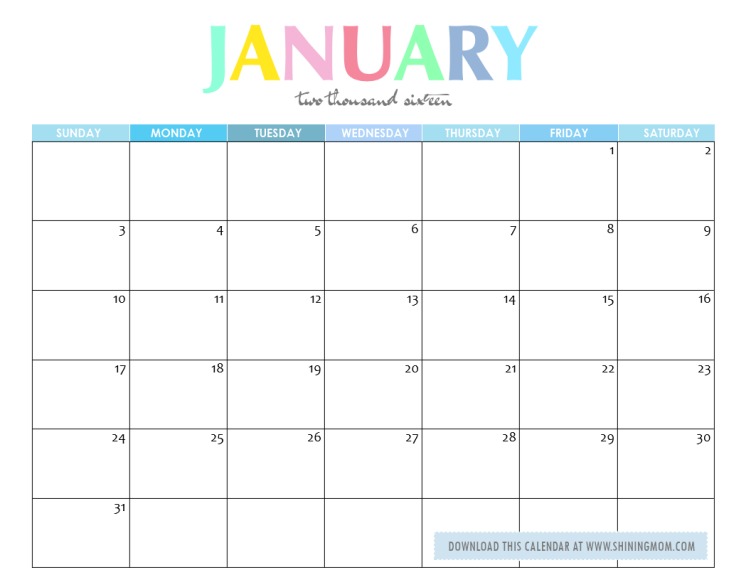 2016 january calendar clipart svg January 2016 meal of the month clipart color free - ClipartFox svg