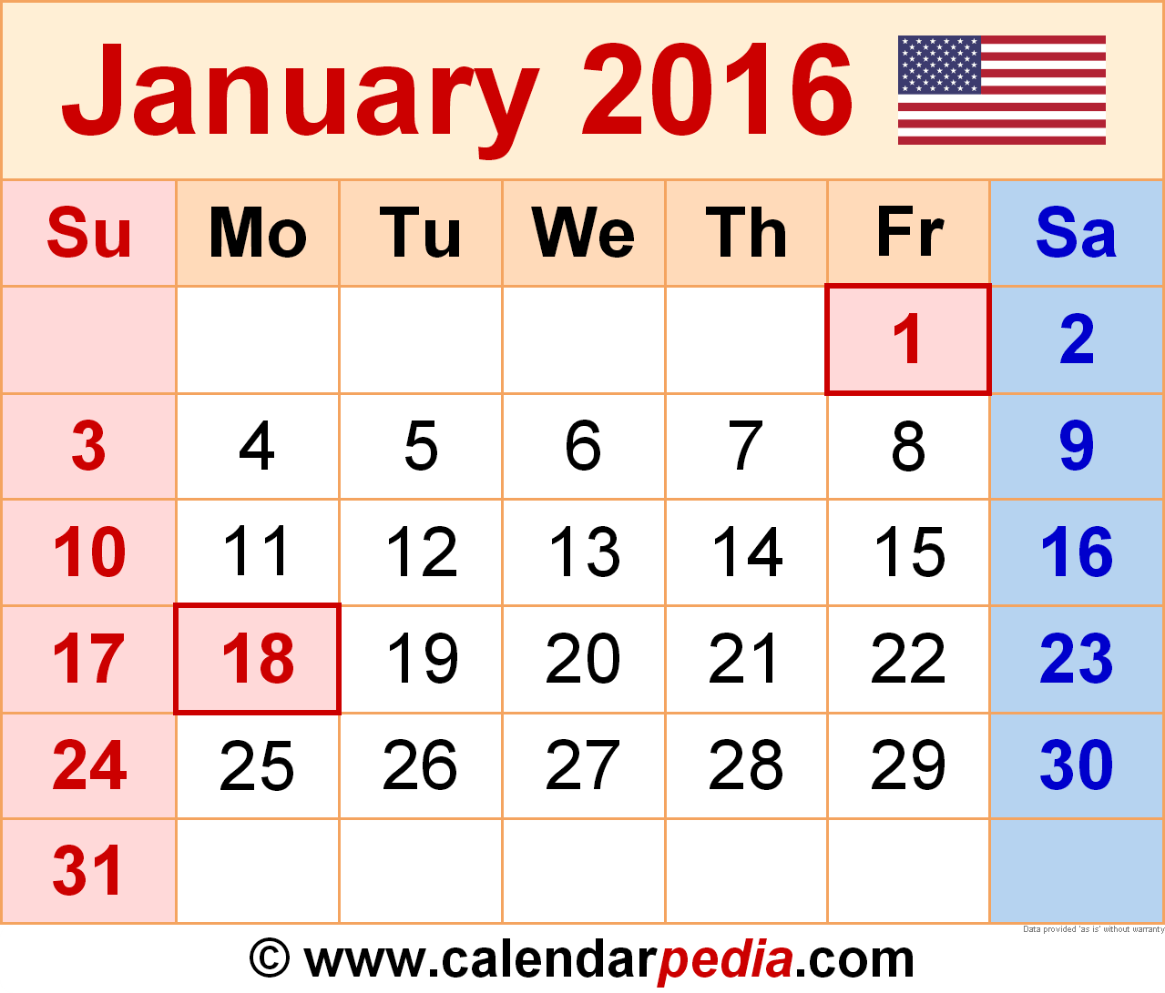 2016 january calendar clipart png download January holidays calendar clipart - ClipartFest png download