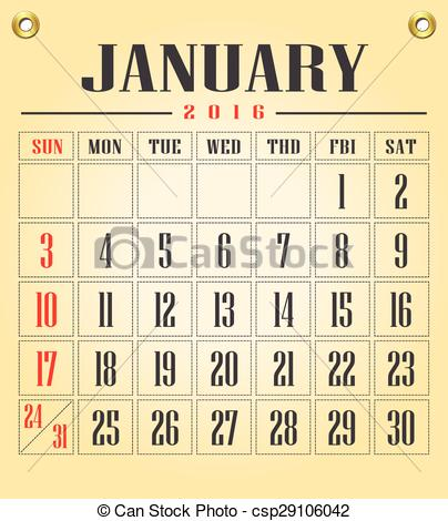 2016 january calendar clipart banner freeuse 2016 January Calendar Clipart - Clipart Kid banner freeuse