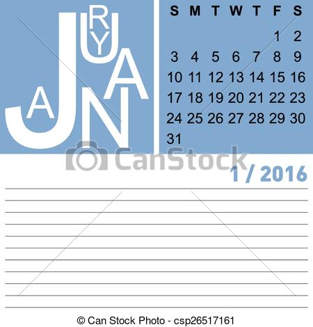 2016 january clipart banner transparent library Clip Art Vector of calendar january 2016 - jazzy monthly calendar ... banner transparent library