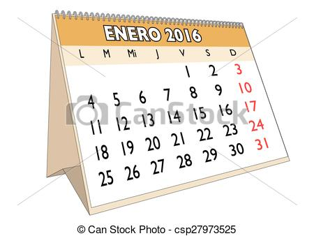 Vector Illustration of Enero 2016 - January month in a year 2016 ... clip library stock