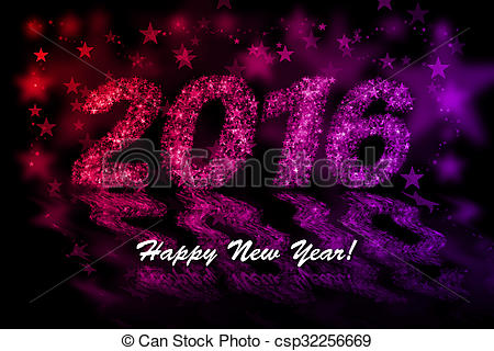 2016 new clipart effect vector Happy New Year 2016. Red and purple stars background with bokeh effect vector